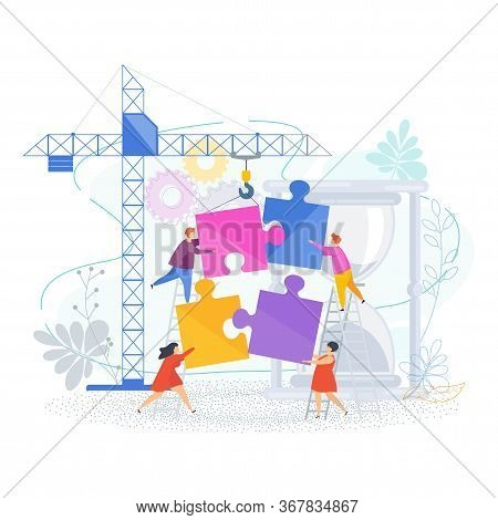 Small People Connect Puzzle Pieces. Construction Site With A Tower Crane. Teamwork, Help And Support