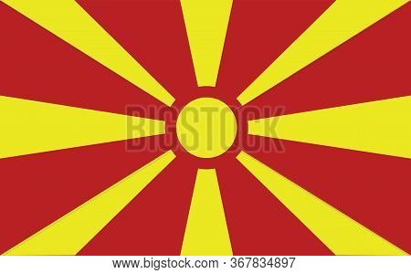Macedonia Flag Vector Graphic. Rectangle Macedonian Flag Illustration. Macedonia Country Flag Is A S