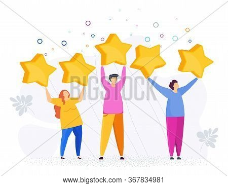 People Raised Large Stars Above Their Heads. Customer Feedback. Positive Review. Rating Opinions. Ra