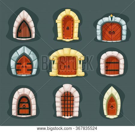 Door Medieval Set. Gothic Wooden Gate Entrance With Bars And Round Handle In Stone Facade, Reinforce
