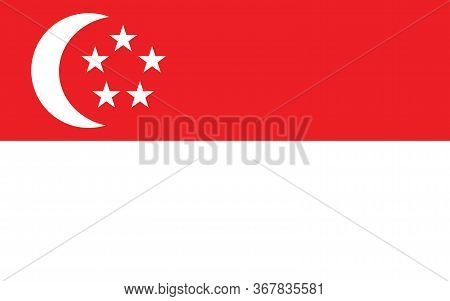 Singapore Flag Vector Graphic. Rectangle Singaporean Flag Illustration. Singapore Country Flag Is A