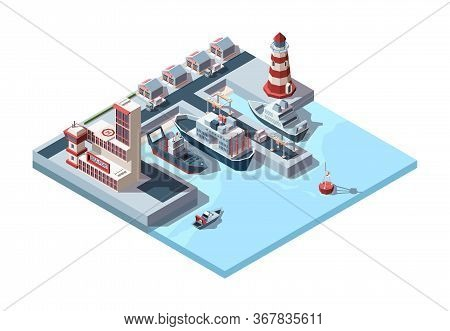 Seaport Isometric Industrial. Logistics Illustration Of International Port Ships In Dock And Termina