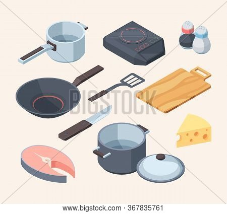 Cook Kithhen Set. Frying Pan Electric Stove White Cooking Ladle Pan Lid Yellow Cheese Red Fish Chunk