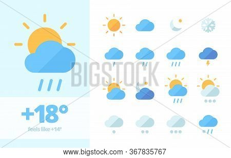 Weather Set Icon . Climatic Fluctuations In World Heavy Rains Lightning Cooling Cloudy Sunny Month S
