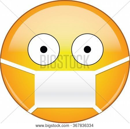 Sick Emoticon Wearing A Medical Mask. Yellow Emoji Wearing A Medical Mask With Eyes Wide Open And Sm