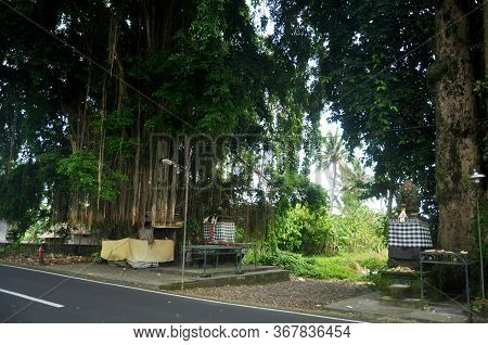 Small Hinduism Shrine And Angel Devil Guardian Statue Balinese Style Beside Road Between Go To Pura