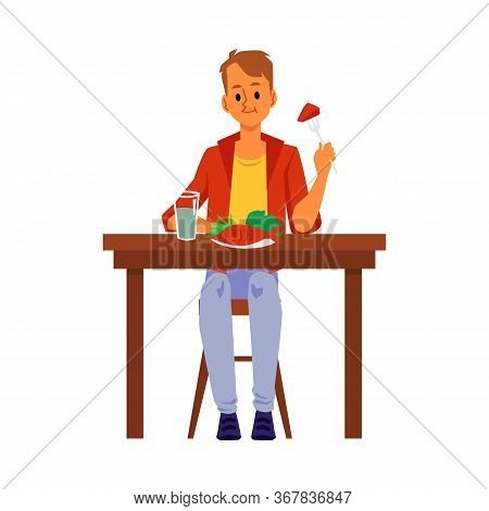 Cartoon Man Eating Healthy Food Meal - Fish And Green Vegetables.