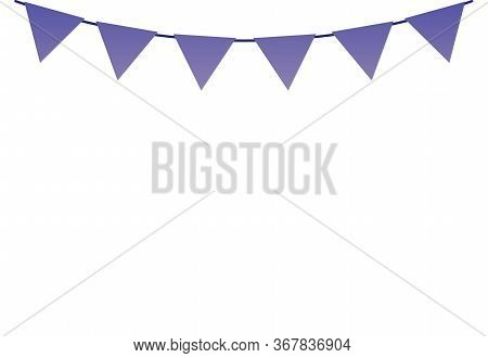 String Of Flag Garland Or Bunting Decoration, Flat Vector Illustration Isolated.