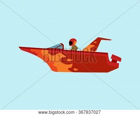 Man Riding Red Motorboat With Fire Flame Pattern - Side View Of Speed Boat Rider