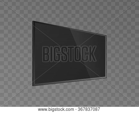 Black Lcd Tv Monitor Turned, Realistic Vector Mockup Illustration Isolated.