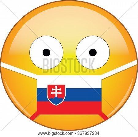 Yellow Scared Emoji In Slovak Medical Mask Protecting From Sars, Coronavirus, Bird Flu And Other Vir