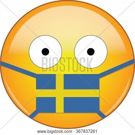 Yellow Scared Emoji In Swedish Medical Mask Protecting From Sars, Coronavirus, Bird Flu And Other Vi