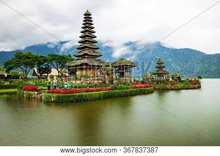 Pura Ulun Danu Bratan Temple In Bali Island. Beautiful Balinese Temple. Balinese Landmark. Rainy, Cl