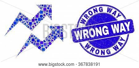 Geometric Trend Arrows Mosaic Pictogram And Wrong Way Seal Stamp. Blue Vector Round Grunge Seal Stam