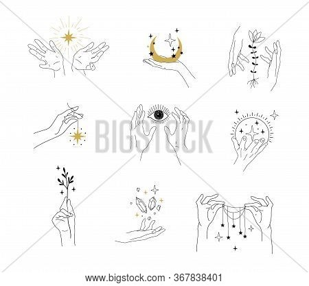 Set Of Modern Simple Magic Drawings With Crystals, Stars, Moon. Design Elements For Weddings, Tattoo