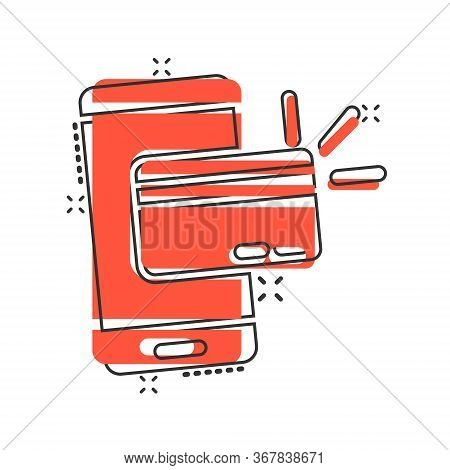 Smartphone Paying Icon In Comic Style. Nfc Credit Card Cartoon Vector Illustration On White Isolated