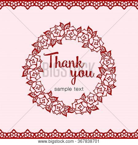 Universal Greeting Or Thank You Card Template With Round Roses Frame And Openwork Border. Festive Ba