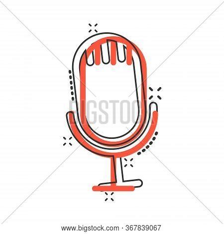 Microphone Icon In Comic Style. Studio Mike Cartoon Vector Illustration On White Isolated Background