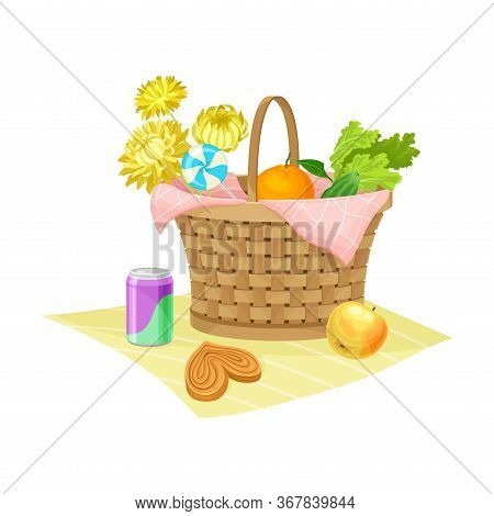 Wicker Picnic Basket Or Hamper Full With Foodstuff Rested On Overlay Vector Illustration