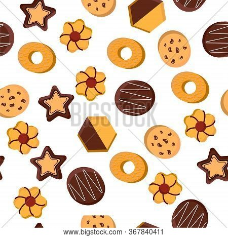 Cookies.vector Illustration On A White Background. A Pattern Of Different Types Of Cookies.