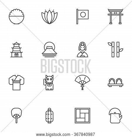 Japanese Culture Line Icons Set, Outline Vector Symbol Collection, Linear Style Pictogram Pack. Sign