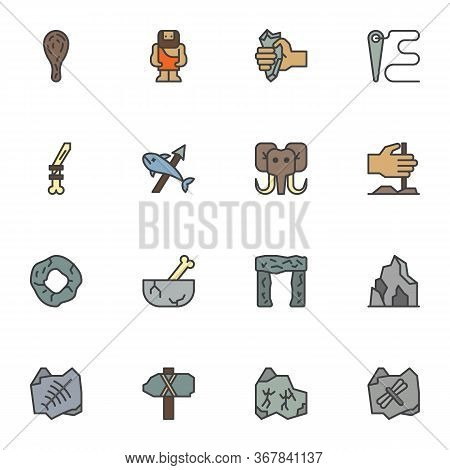 Prehistoric Filled Outline Icons Set, Line Vector Symbol Collection, Linear Colorful Pictogram Pack.