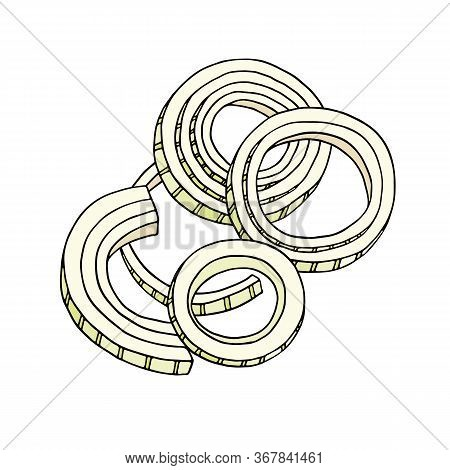 Cut Onions Vector Illustration. Hand Drawn Composition With Rings And Slices Of Onion. Fresh Ingredi