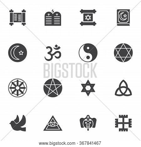 Religion Vector Icons Set, Modern Solid Symbol Collection, Filled Style Pictogram Pack. Signs, Logo