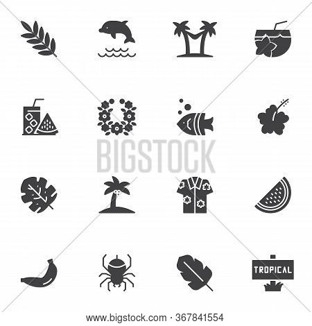 Tropical Vacation Vector Icons Set, Modern Solid Symbol Collection, Filled Style Pictogram Pack. Sig