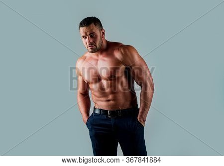 Shirtless Man, Fashion Brutal Guy With Sexy Naked Torso. Handsome Man