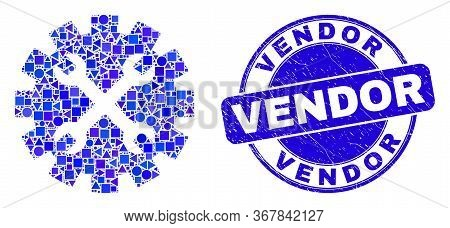 Geometric Tools Gear Mosaic Pictogram And Vendor Seal Stamp. Blue Vector Rounded Distress Stamp With