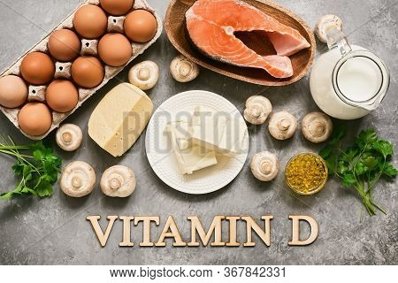 Foods Rich In Vitamin D. Products High In Vitamin D. Top View, Flat Lay, Lettering