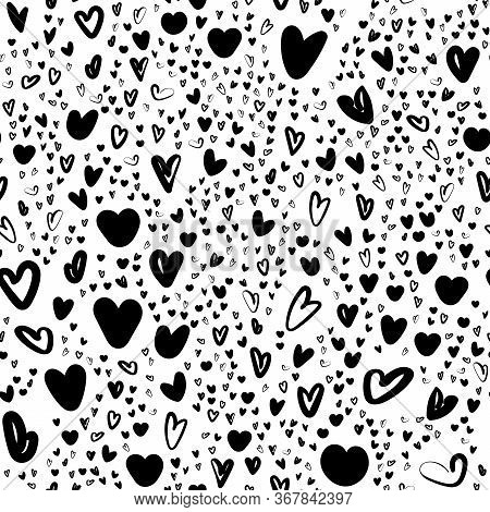 Black Wite Seamless Pattern Valentines Background With Doodle Hearts. Hand Drawn Pattern Can Be Used