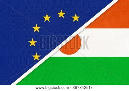 European Union Or Eu And Niger National Flag From Textile. Symbol Of The Council Of Europe Associati