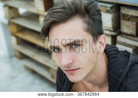 Close-up Portrait Of Fashion Man Looking At Camera. Handsome Man