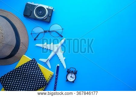 Travel Accessories Set On White Background , Top View