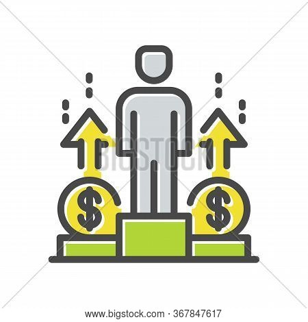 Businessman, Ceo, Entrepreneur Stands On Winner Podium With Money Thin Line Icon, Logo Isolated On W