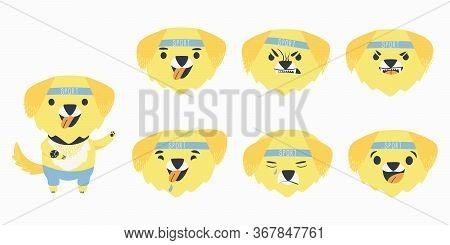 Set Cartoon Emotions Character Yellow Labrador Retriever. Funny Cartoon Character. Emotions Of A Dog