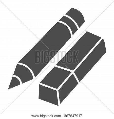 Eraser And Pencil Solid Icon, Stationery Concept, School Drawing Tools Sign On White Background, Pen