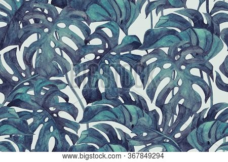 Duo Tone Colored Monstera Leaves Seamless Pattern. Tropical Leaf Sketch