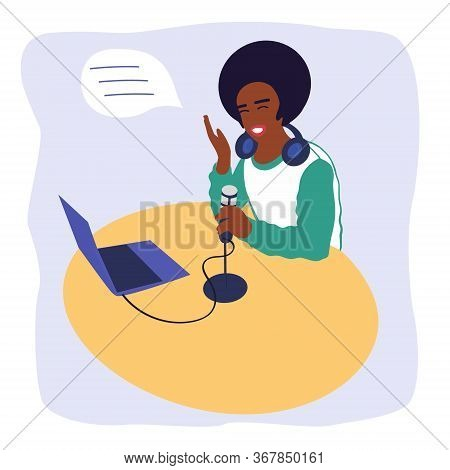 Black Guy Podcaster Records A Podcast. An African-american Radio Host Broadcasts In The Media.a Man