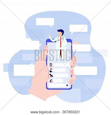 Online Doctor Consultation Via Your Smartphone Concept. Flat Design Concept Of Online Medicine And H