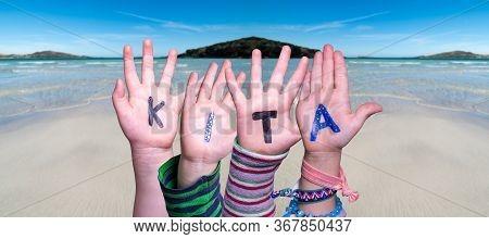Children Hands Building Word Kita Means Kindergarden, Ocean Background