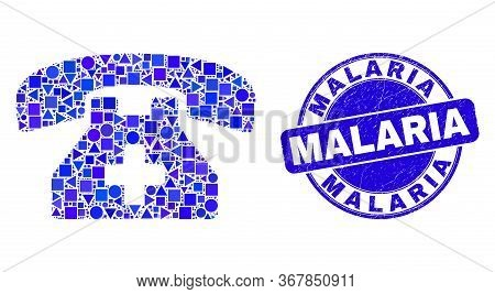 Geometric Medical Phone Mosaic Pictogram And Malaria Stamp. Blue Vector Round Scratched Stamp With M