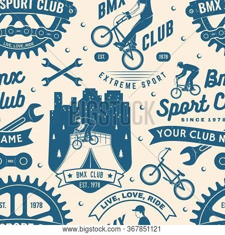 Set Of Bmx Extreme Sport Club Seamless Pattern, Background. Vector Illustration. Seamless Pattern De