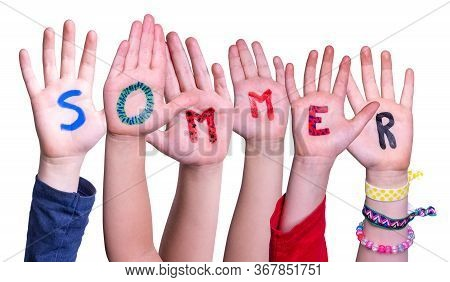 Children Hands Building Word Sommer Means Summer, Isolated Background