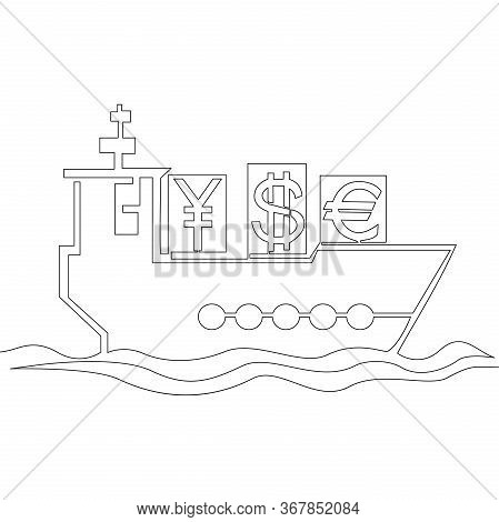 Continuous One Single Line Drawing Import Cargo Ship Icon Vector Illustration Concept