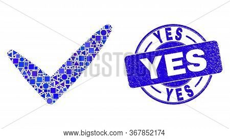 Geometric Yes Tick Mosaic Icon And Yes Watermark. Blue Vector Round Textured Seal Stamp With Yes Phr