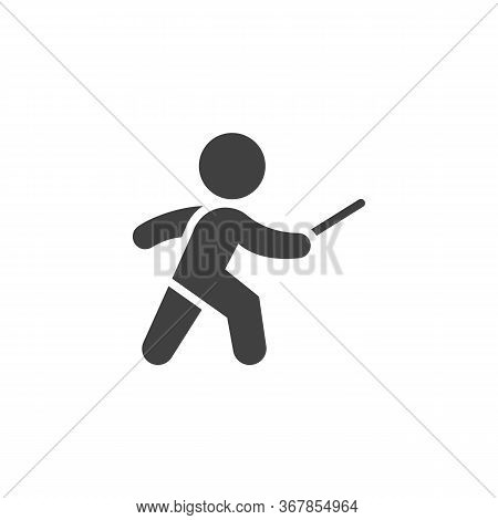 Fencing Sport Vector Icon. Filled Flat Sign For Mobile Concept And Web Design. Fencer Man Glyph Icon