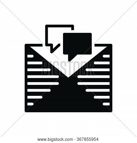 Black Solid Icon For Messages Tidings Letter  Text